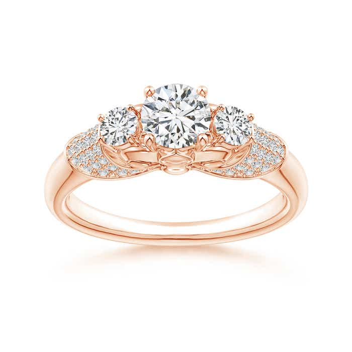 Angara Moissanite Past Present Future Engagement Ring in Rose Gold wd1it