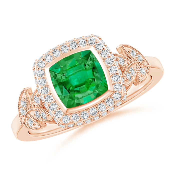 Angara Vintage Inspired Cushion Emerald Halo Ring with Leaf Motifs YWOF0s8