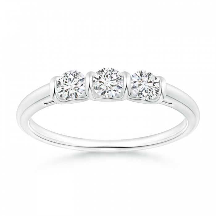 Angara Slanted Five Stone Diamond Bypass Ring in Two Tone T9xgvJ