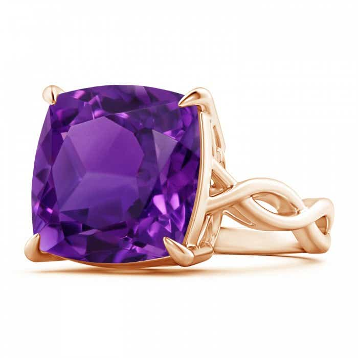 Angara Claw Cushion Amethyst Solitaire Vintage Ring in Rose Gold JS7vHv
