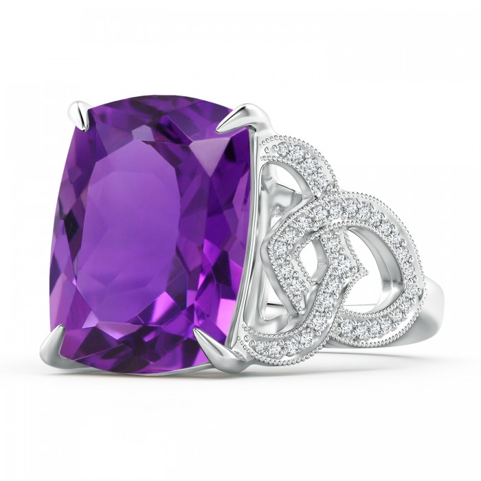 Angara Cushion Amethyst Celtic Knot Cocktail Ring siNBWbKLIW