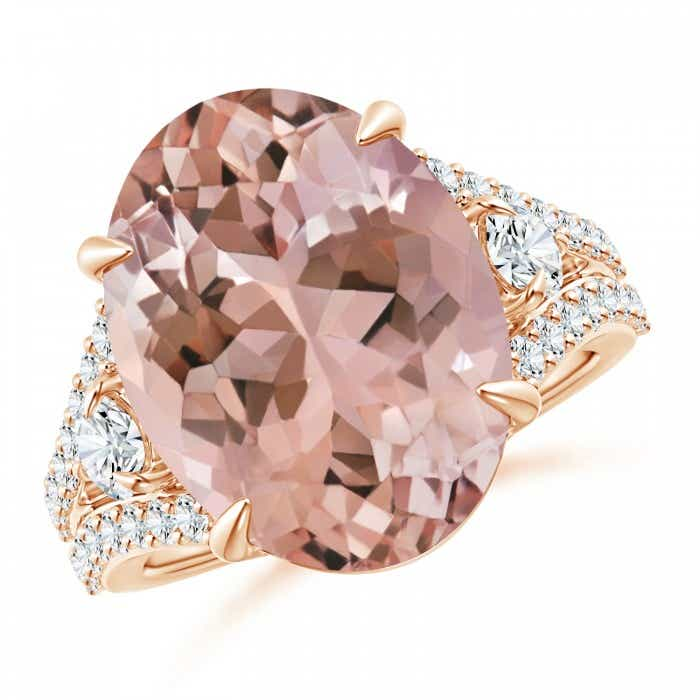 Angara Morganite Split Shank Ring with Brown Diamond Accents R9DMRnpwDE