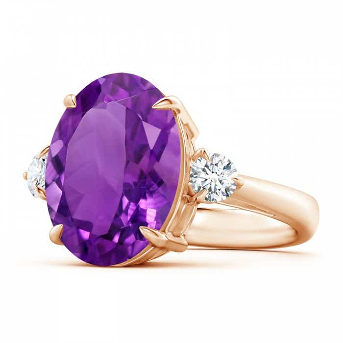 Angara Classic Oval Amethyst and Diamond Three Stone Ring 4qR13t1z