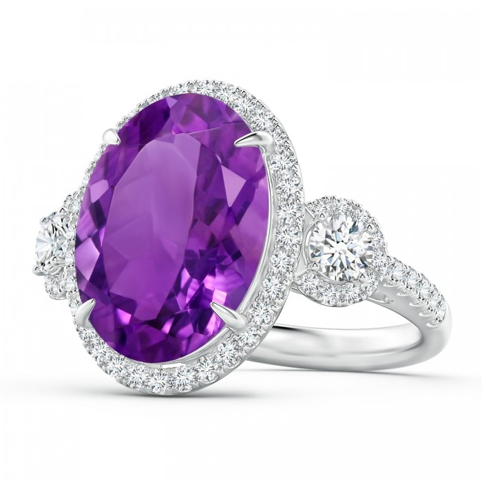 Angara Round Amethyst Ring in Rose Gold nlz86