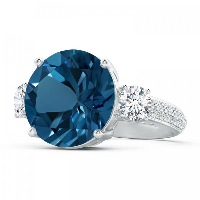 Angara Natural London Blue Topaz and Diamond Three Stone Ring in Yellow Gold gMKIJH