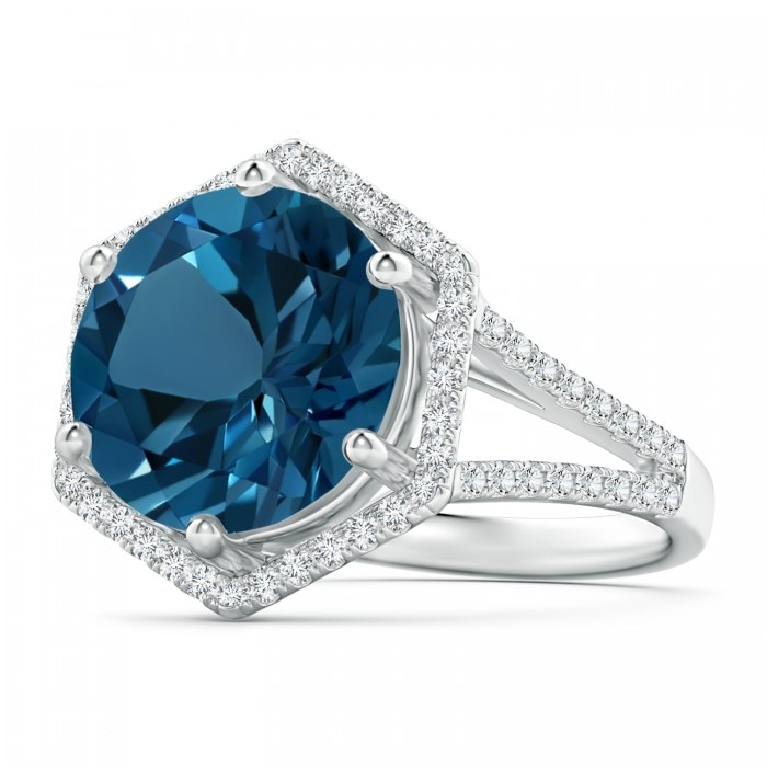Angara Classic London Blue Topaz Halo Ring with Pave Diamonds