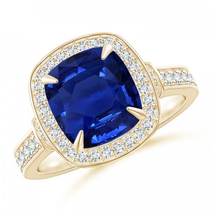 Angara Pave Halo Cushion Sapphire Ring xX54rbNxI