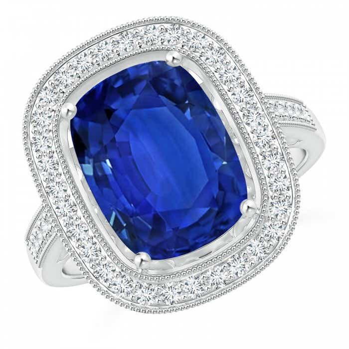 Angara GIA Certified Cushion Blue Sapphire Halo Ring