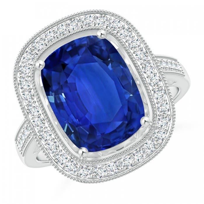 Angara GIA Certified Cushion Blue Sapphire Halo Ring XxxuA2