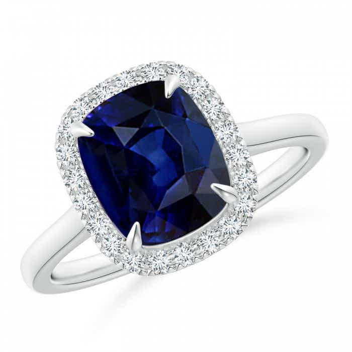 Angara Cathedral Set Blue Sapphire and Diamond Double Halo Ring in Platinum ynn8p