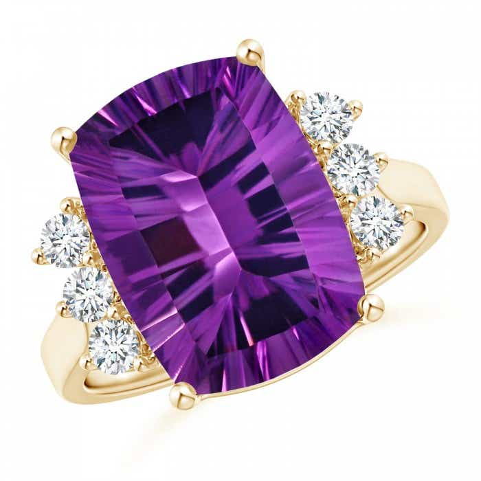 Angara Amethyst Ring - GIA Certified Cushion Amethyst Reverse Tapered Shank Ring
