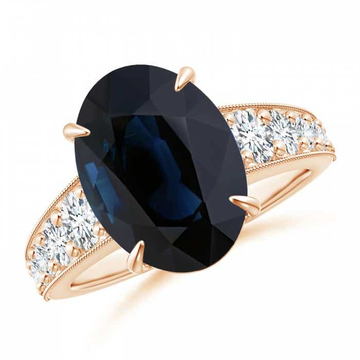 Angara GIA Certified Oval Sapphire Solitaire Ring with Diamonds XMLtOzsk