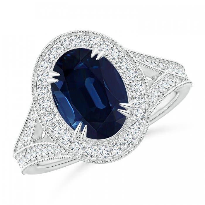 Angara Classic GIA Certified Sapphire Split Shank Halo Ring xqYYHwd8