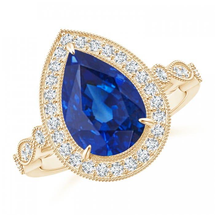 Angara Vintage Style GIA Certified Pear Sri Lankan Sapphire Ring TuZsJjh