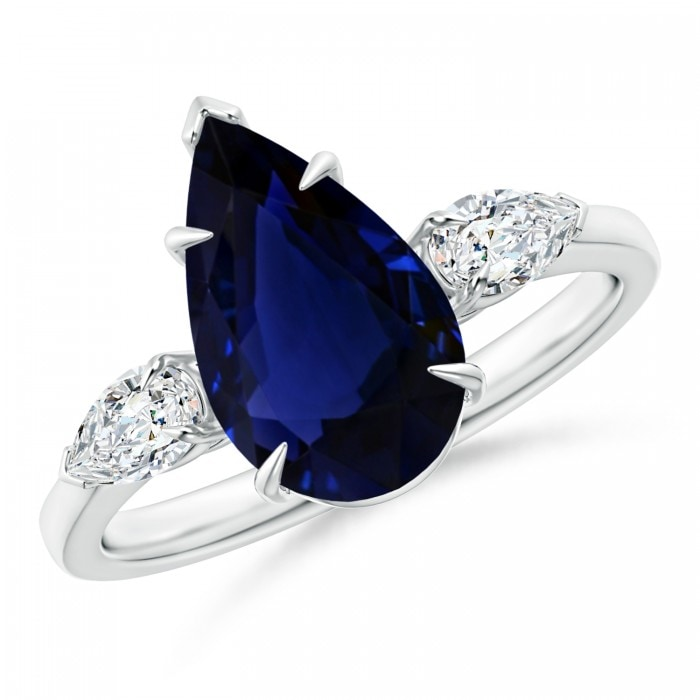 Angara Sapphire Ring - GIA Certified Pear-Shaped Sapphire Ring with Diamond Halo 9qRafrReY