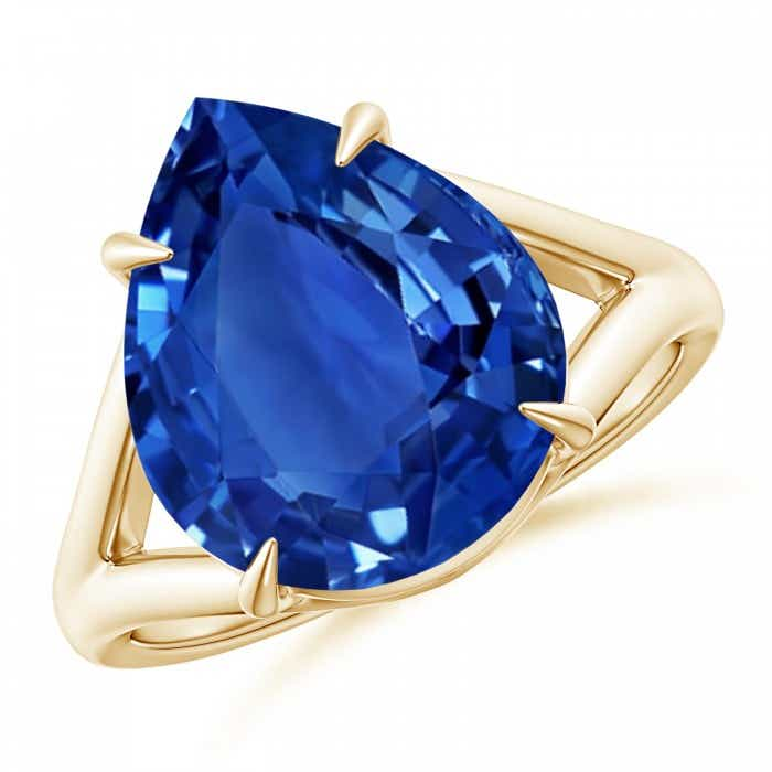 Angara GIA Certified Pear Sri Lankan Sapphire Double Halo Ring