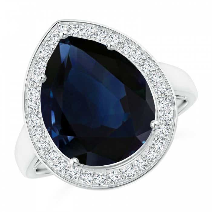 Angara Vintage Style GIA Certified Pear Sri Lankan Sapphire Ring