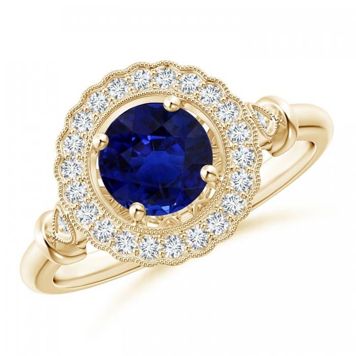 Angara Sapphire Ring - Art Deco Inspired GIA Certified Sapphire Halo Ring 83rBiv
