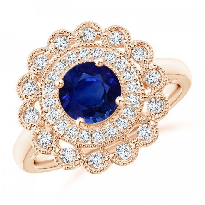 Angara Art Deco Inspired GIA Certified Sapphire Halo Ring 8W4h1083