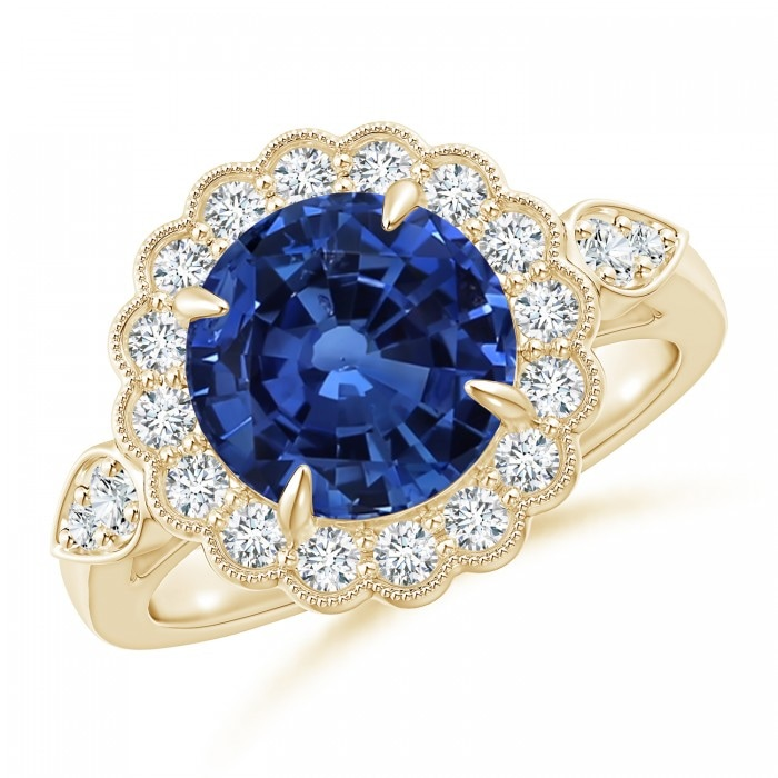 Angara Pear Motifs Sapphire and Diamond Vintage Carving Ring in White Gold bwLfb