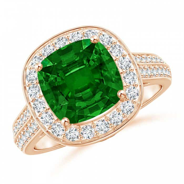 Angara Pave Halo Cushion Emerald Ring in 14k Rose Gold kTLPgrS5F