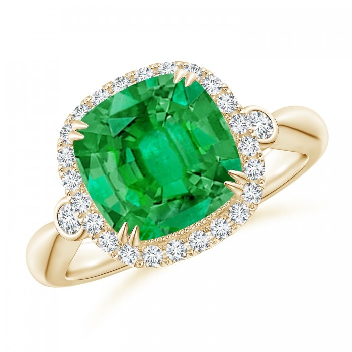 Angara Cushion Emerald and Diamond Double Halo Ring in 14k Yellow Gold