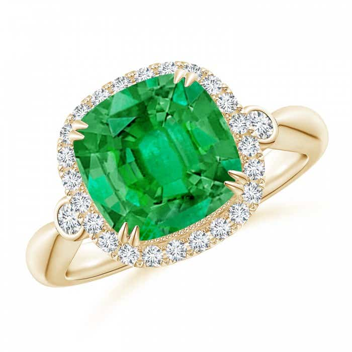 Angara GIA Certified Cushion Colombian Emerald Tapered Shank Ring jtHZzXs