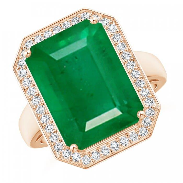 Angara GIA Certified Octagonal Emerald Split Shank Ring z6GgDUrc