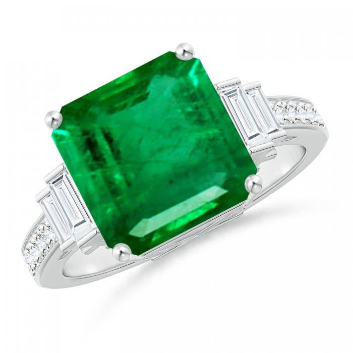 Angara Emerald Ring - GIA Certified Emerald Cluster Halo Ring with Diamonds SdeFC8MhiQ