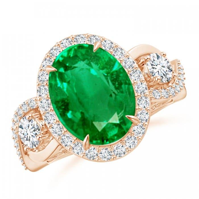 Angara Crossover Shank Diamond Halo Emerald Ring in Yellow Gold Z33c31