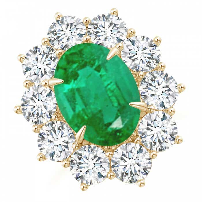 Angara Emerald Ring - GIA Certified Emerald Cocktail Ring with Diamond Floral Halo 0hbyyNeQR