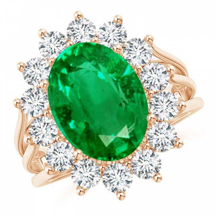 Angara Emerald Ring - GIA Certified Emerald Triple Shank Floral Halo Ring Bj9uNZ