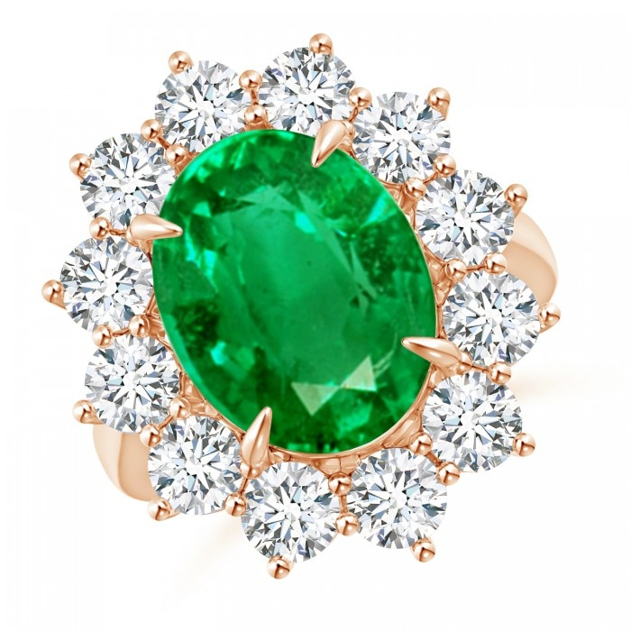 Angara Emerald Ring - Classic GIA Certified Oval Emerald Halo Ring with Diamonds qUEW8nf
