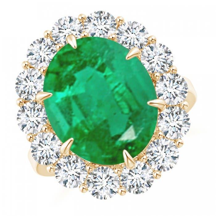 Angara Classic GIA Certified Oval Emerald Ring with Diamond Halo kEB9R