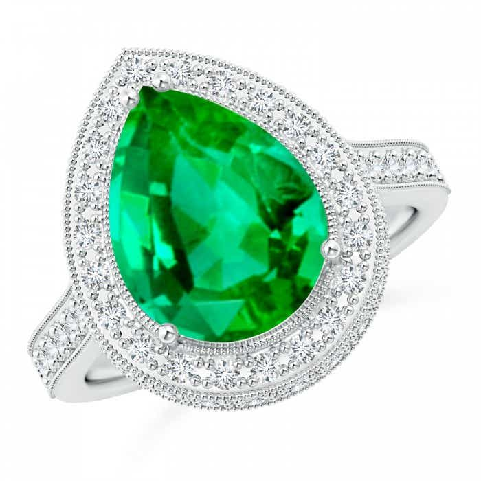 Angara Diamond Halo Pear Shape Emerald Engagement Ring in 14k White Gold 3y2YoCxir