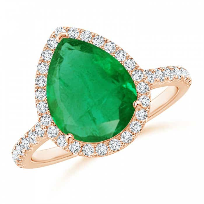 Angara Emerald Ring - Cathedral Emerald and Diamond Halo Ring (GIA Certified Emerald) tUdUDR