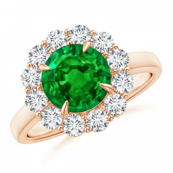 Angara Cushion Natural Emerald Engagement Ring in 14k Rose Gold tllo35a