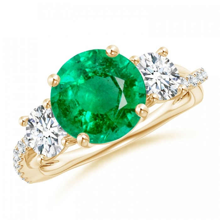 Angara Emerald Ring - Emerald and Diamond Three Stone Ring (GIA Certified Emerald) eo3ds