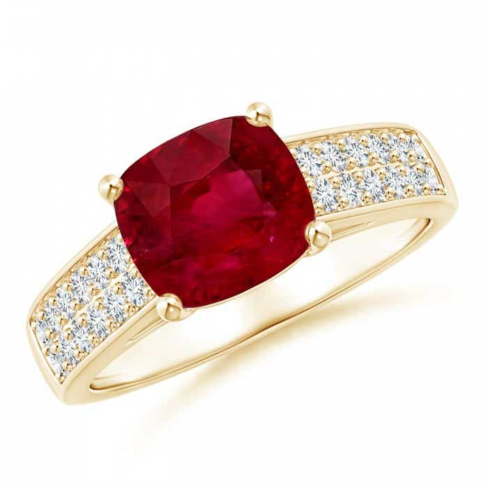 Angara Ruby Ring - GIA Certified Cushion Ruby Ring with Diamond Double Row