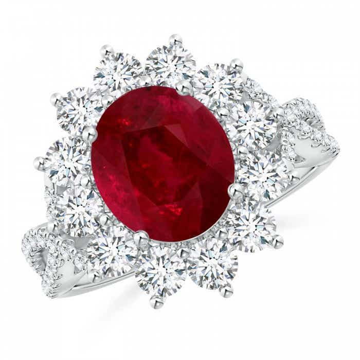 Angara Ruby Ring - GIA Certified Oval Ruby Split Shank Ring with Floral Halo DPvwFH