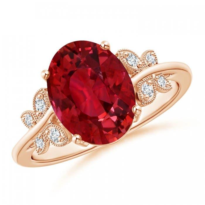 Angara Ruby Ring - GIA Certified Oval Ruby Scroll Ring with Diamond Halo jyA17