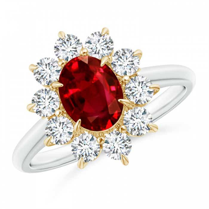 Angara Ruby Ring - Oval Ruby and Diamond Floral Halo Ring (GIA Certified Ruby) R0RaaZPdxE