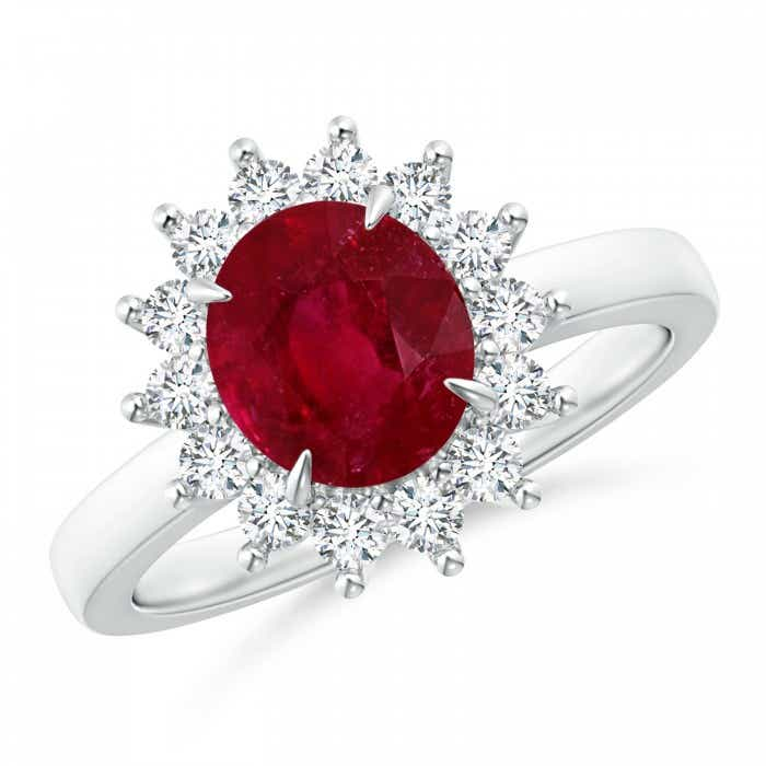 Angara Ruby Ring - Double Claw Ruby and Diamond Halo Ring (GIA Certified Ruby)