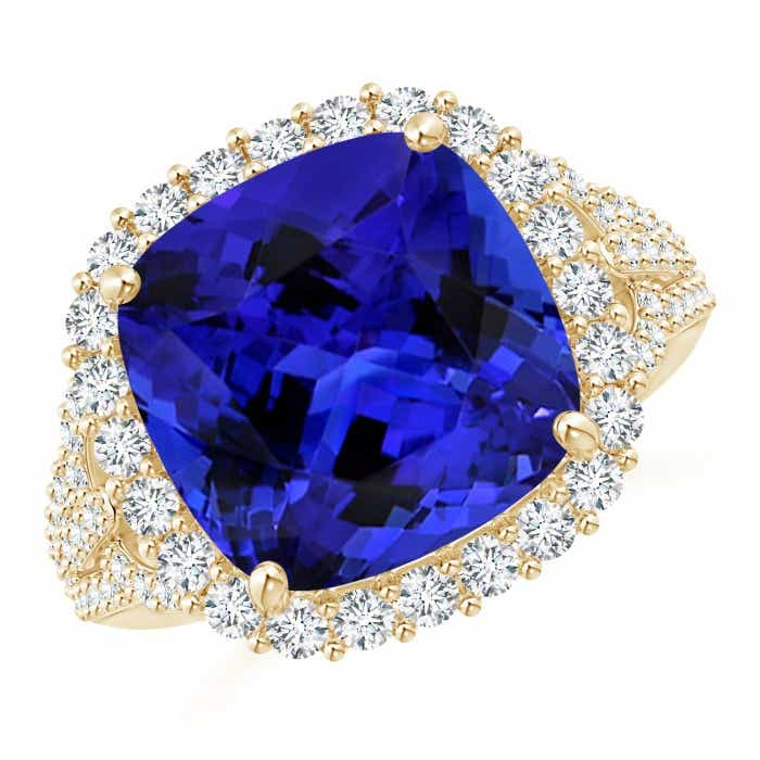 Angara GIA Certified Cushion Blue Sapphire Halo Ring lwzj8DE