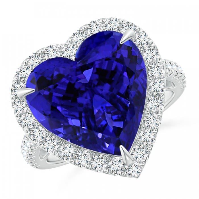 Angara GIA Certified Round Sapphire Ring with Diamond Halo 2Q8aweEW