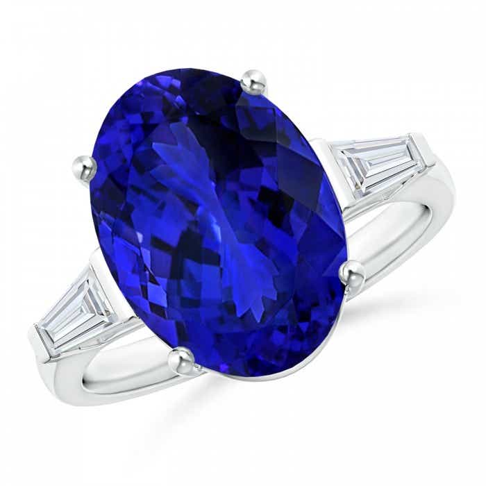 Angara GIA Certified Oval Tanzanite Ring with Baguette Diamonds 582UtPtG