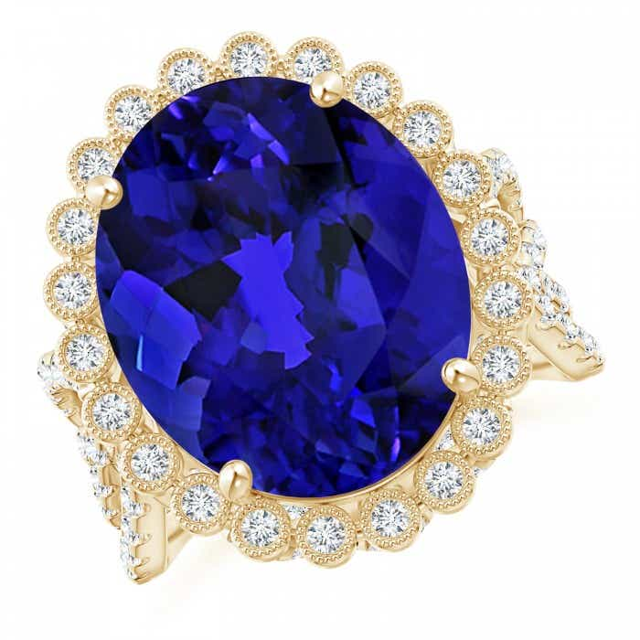 Angara GIA Certified Oval Tanzanite Crossover Halo Ring vYDW6TiQxH