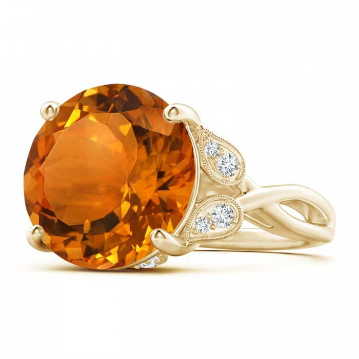 Angara Twist Shank Citrine Ring in Rose Gold