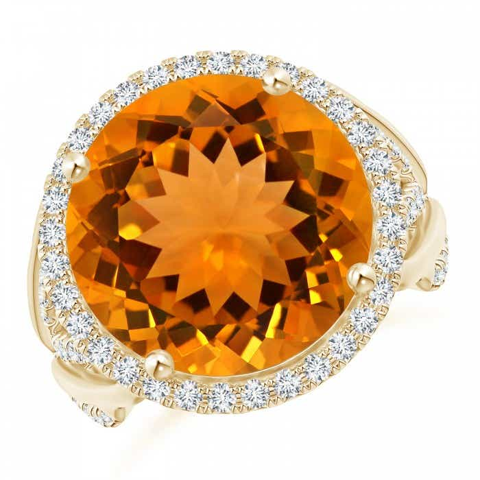 Angara Nature Inspired GIA Certified Round Citrine Floral Ring