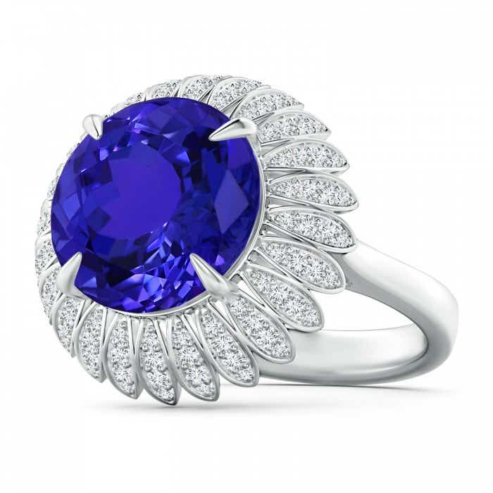 Angara Tanzanite Ring - Tanzanite Cathedral Halo Ring (GIA Certified Tanzanite)